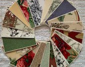 Bundle Fabric Sample Cards - 20 Pieces - Toile, Floral Designs - Junk Journals, Mixed Media, Collage, Cardmaking - EB20