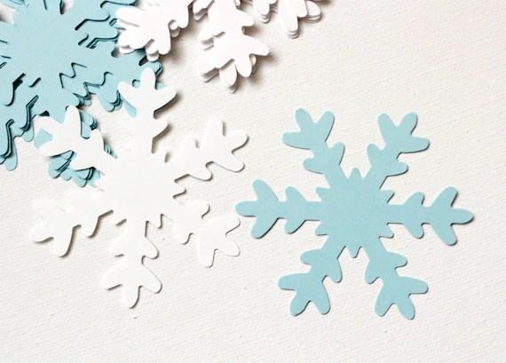 25 White & Blue large Paper Snowflakes