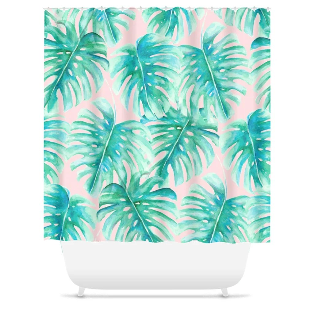 pink and green palm leaf shower curtain monstera pattern watercolor tropical print watercolor palm leaves tropical bathroom decor