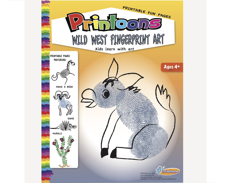 Wild West Fingerprint Art Digital Download Kit Southwest
