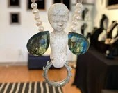 Fly, Peter, Fly! Penny Doll, Labradorite and Pearl Necklace