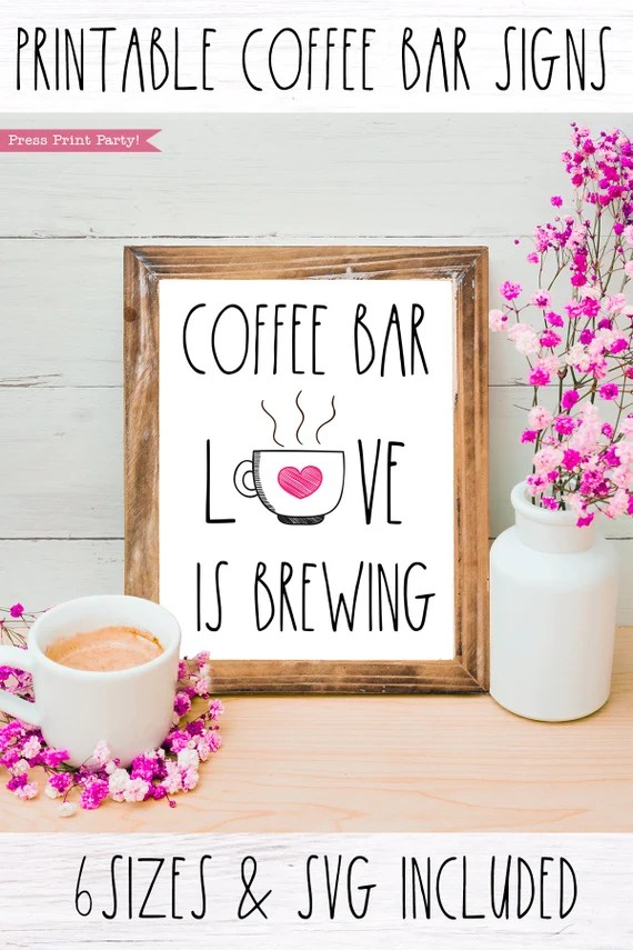 Download Coffee Bar Sign Love is Brewing Printable, Rae Dunn ...