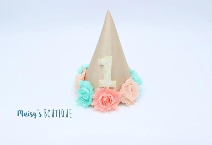 Baby Girl First Birthday Cake Smash Hat Champagne Satin Hat Etsy