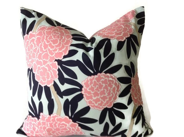 Caitlin Wilson Navy Fleur Chinoise Pillow Cover In Blue