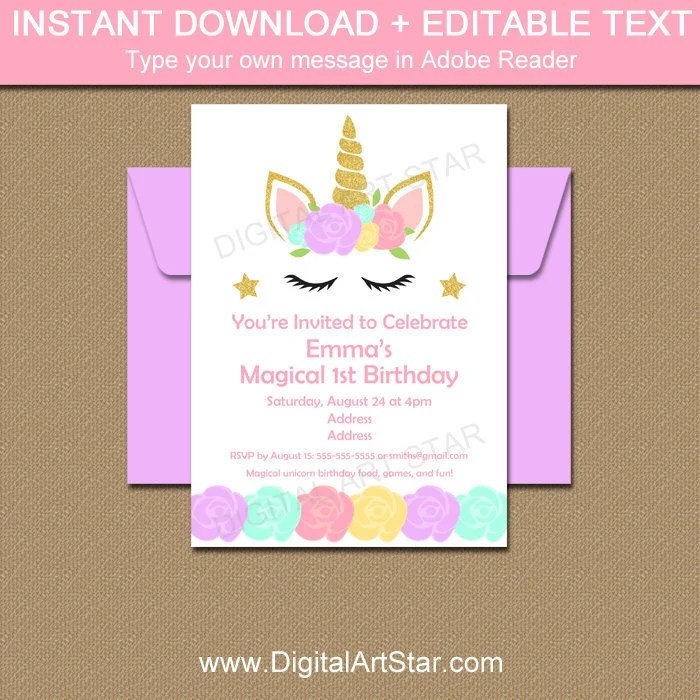 unicorn 1st birthday invitation unicorn birthday invitation download girl birthday invitation printable unicorn party invite template u4