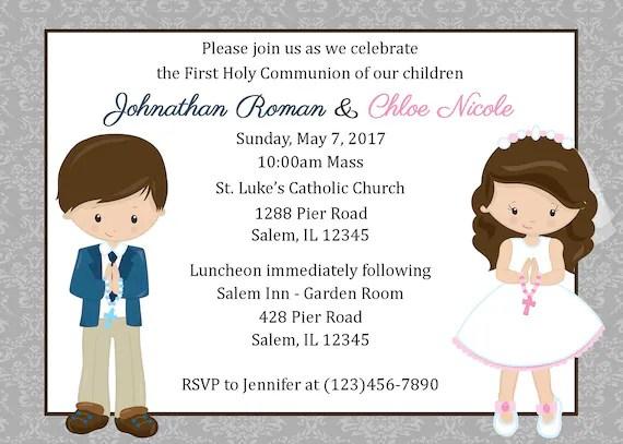 jumeaux premiere communion invitation fichier numerique premiere communion invitation pour jumeaux faire part communion pour cousins