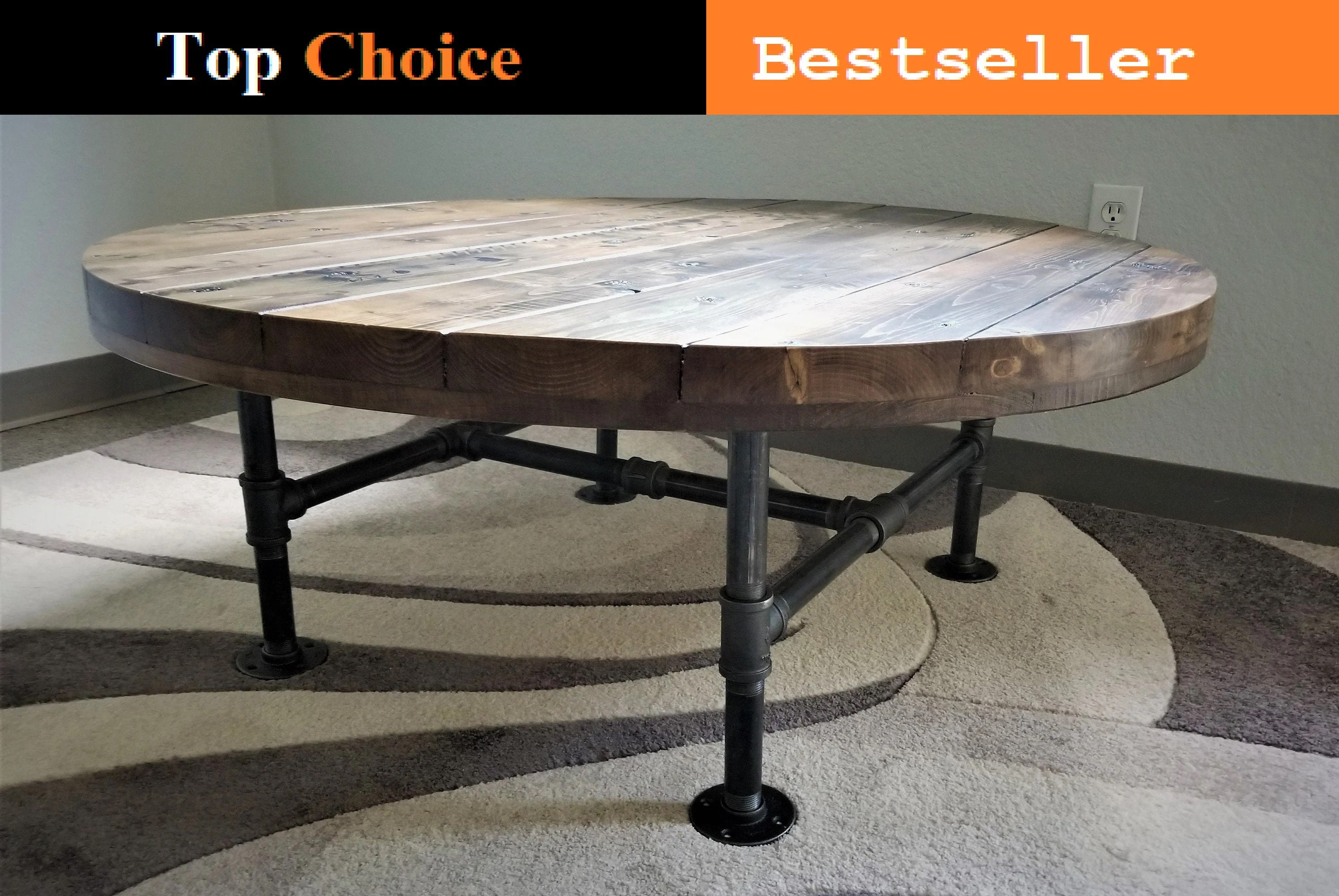 reclaimed distressed round coffee table heavy duty iron pipe legs choose size and height