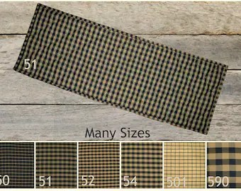 Rustic table runner   Etsy Quilted Table Runner Placemats   Black   Tan Plaid   Rustic Cabin   Country  Farmhouse Table Linens 24  30  36  42  48  54  60  66  72 inch