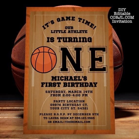 basketball first birthday invitation