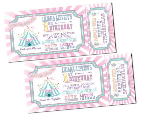 pastel carnival birthday invitations