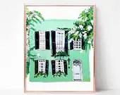 Building Print, Green House Painting, Digital download, Printable original art, Digital 8x12 art printable, Charleston SC