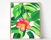Red Hibiscus Painting, Digital download, Printable original art, Digital 8x10 art printable