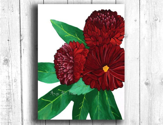 Red Dahlia Painting Digit...
