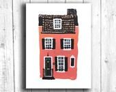 Building Print, Pink Hous...