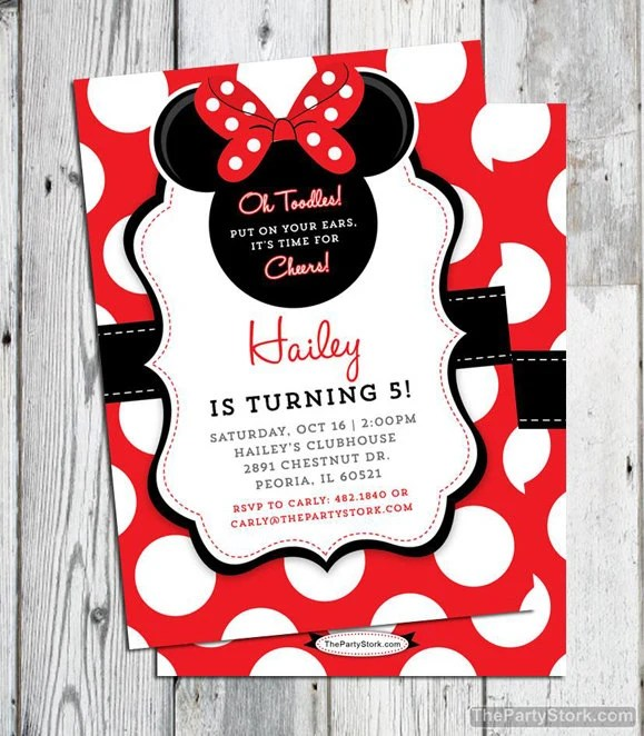 minnie mouse invitation red printable