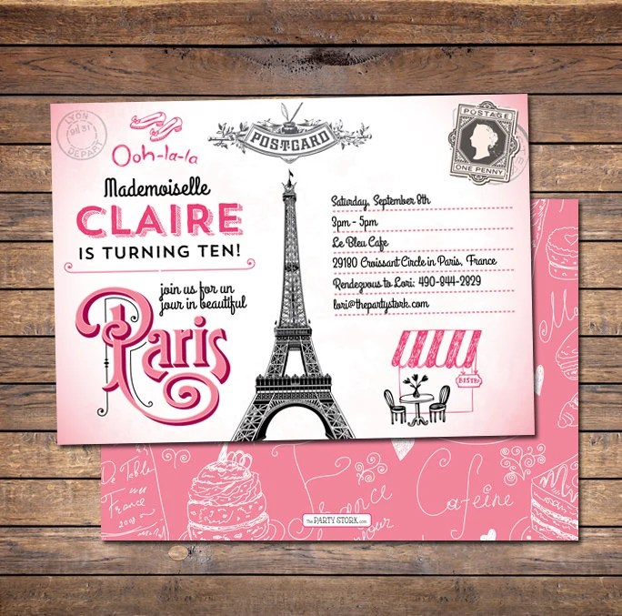 paris birthday invitation paris