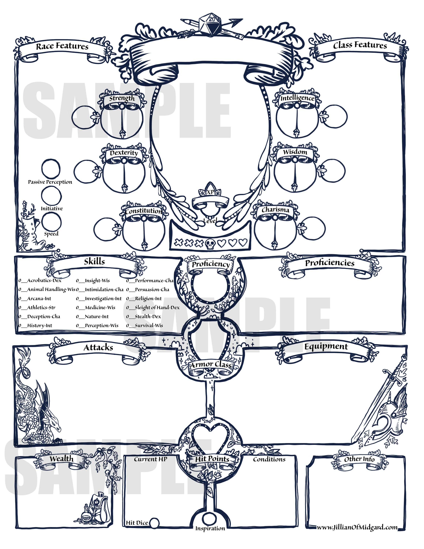 Printable Dungeons Amp Dragons 5th Ed Character Sheet