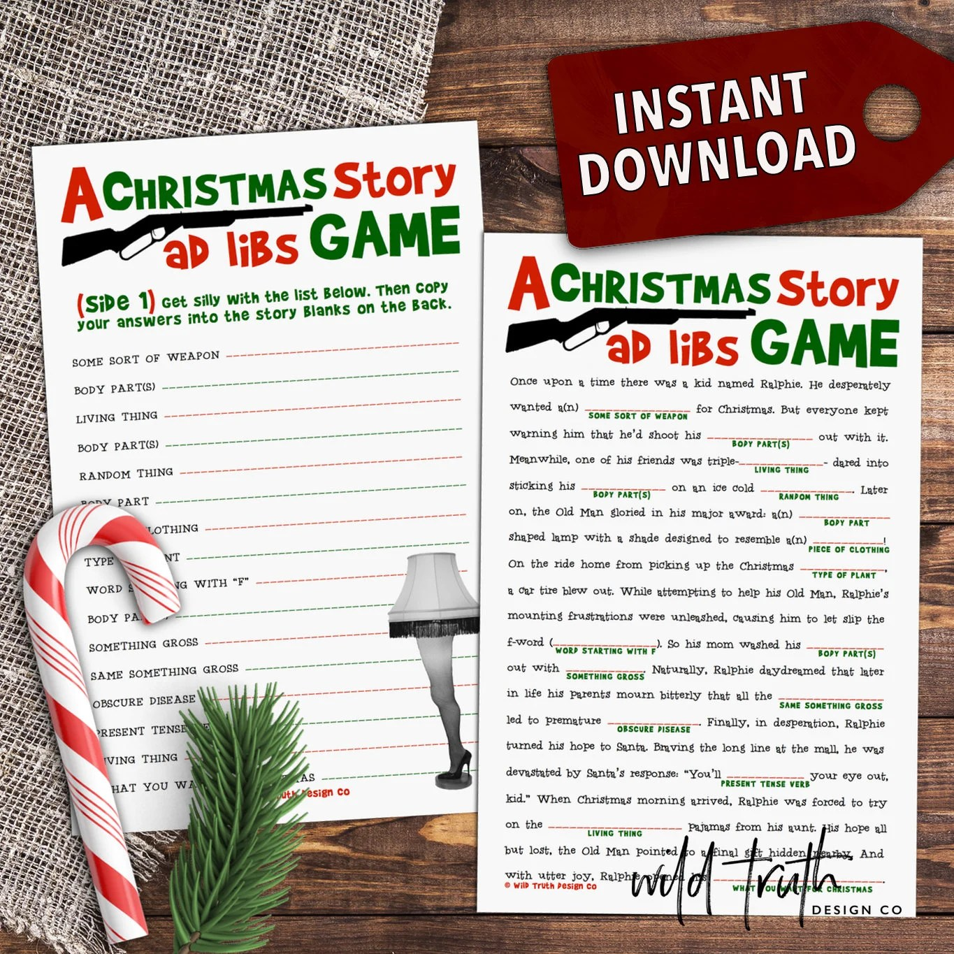 A Christmas Story Movie Mad Lib Printable Holiday Party Game