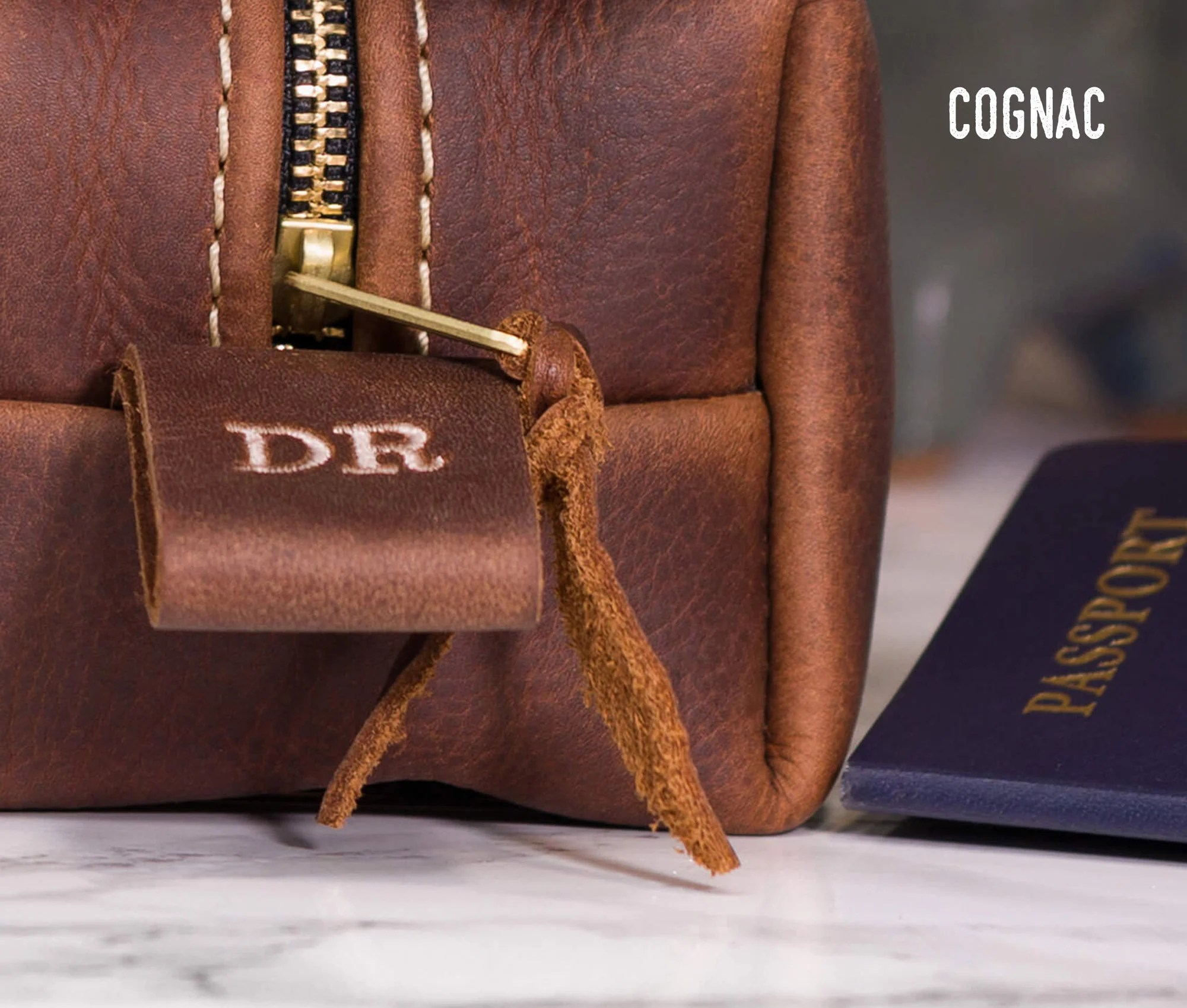 Personalized Leather Dopp Kit Bag Leather Toiletry Bag Cognac
