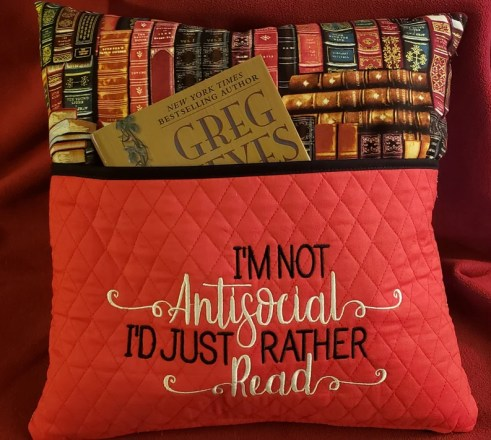 Novelty Embroidered Reading/Book Pillow: I'm Not image 0