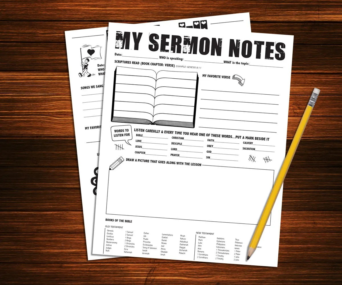 Children S Sermon Notes Printable Worksheet