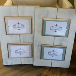 Wood Plank Double 5x7 Handmade Picture Frame Distressed White Finish With Grey Wood Mat With Gold Leaf Accent