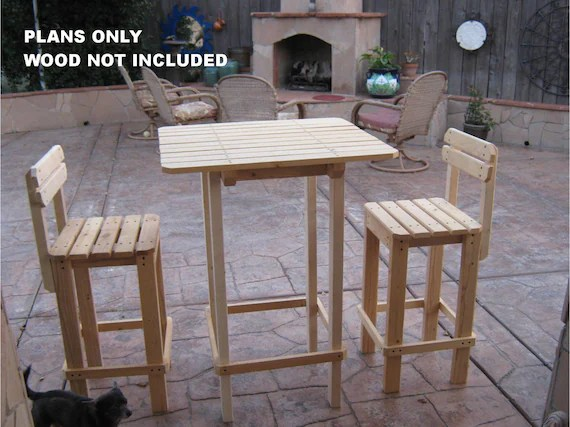 diy plans to make bar table and stool set outdoor etsy