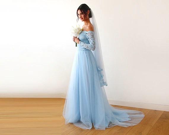 Wedding Gown Light Blue Wedding Gown Off Shoulder Wedding