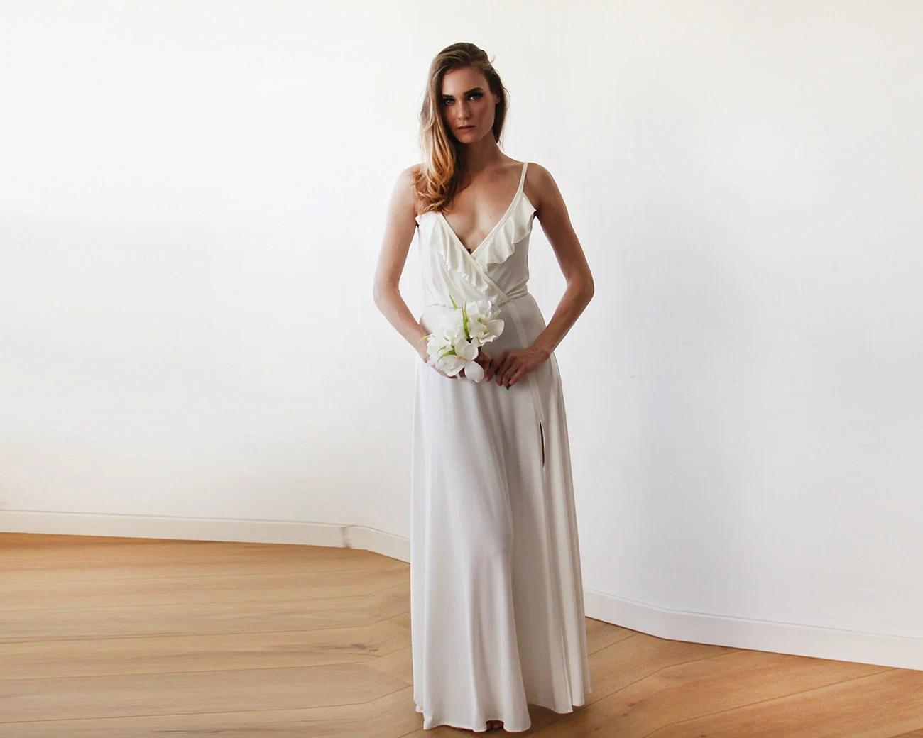 Bridal Maxi Wrap Straps Dress Ivory Straps Wrap Gown With