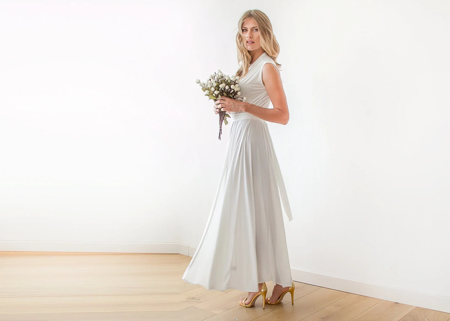 Ivory Wrap Wedding Gown Maxi Ivory Dress With Wide Skirt
