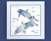 Blue Sea Dolphins - digital download, Dolphin Art, Dophins Print, Dolphin Decor