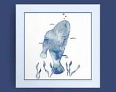 Blue Sea Manatees - digital download, Manatee Art, Manatees Print, Manatee Decor