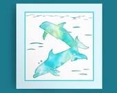 Aqua Sea Dolphins - digital download, Dolphin Art, Dolphins Print, Dolphin Decor