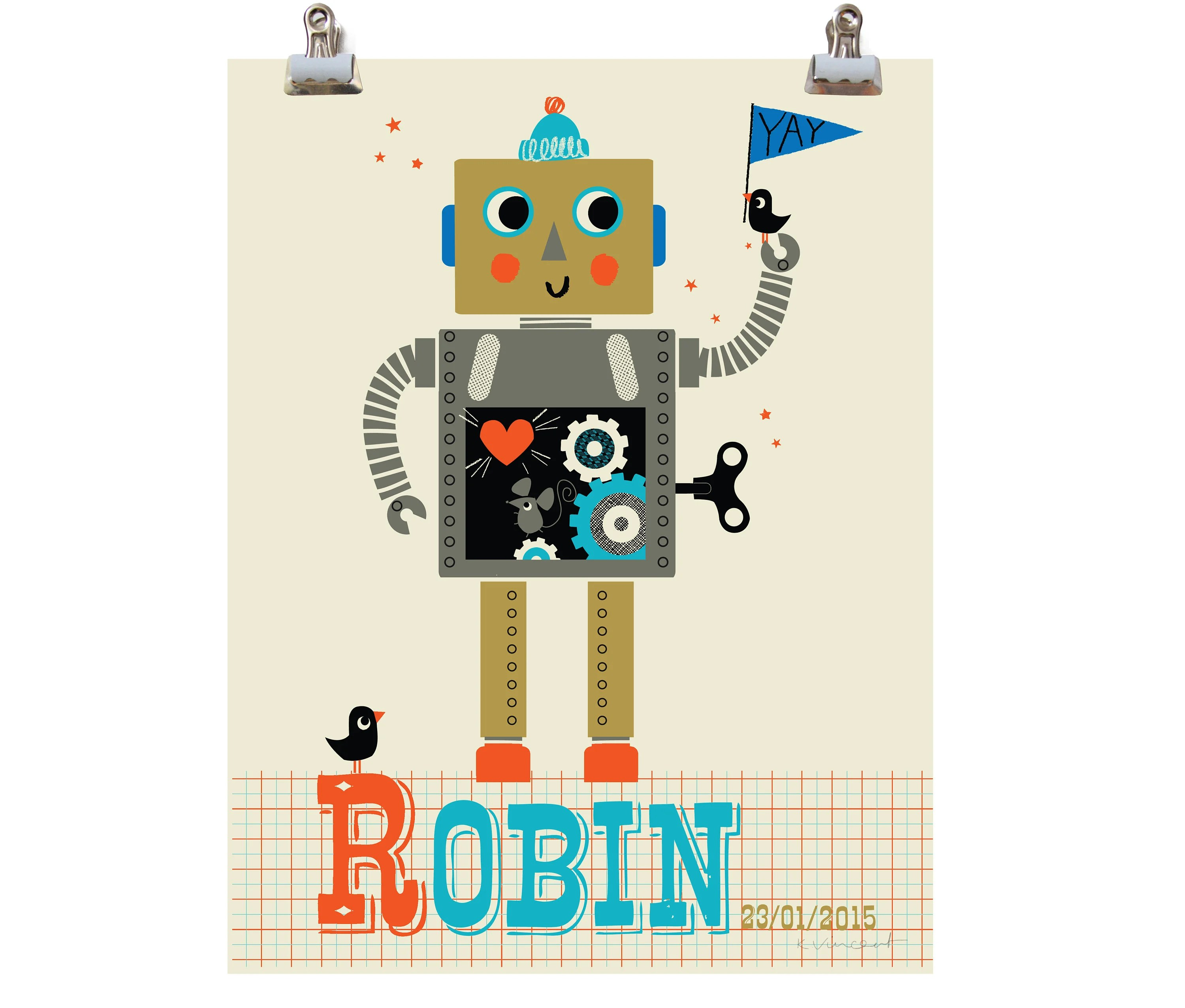 Personalised Retro Robot Name Print Letter R Robot