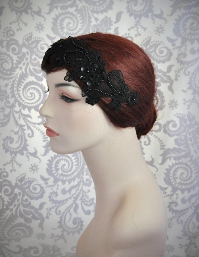 black lace headband, black bridal hair accessories, black hair accessory, goth, lace headpiece, black wedding, vintage style - 111hb