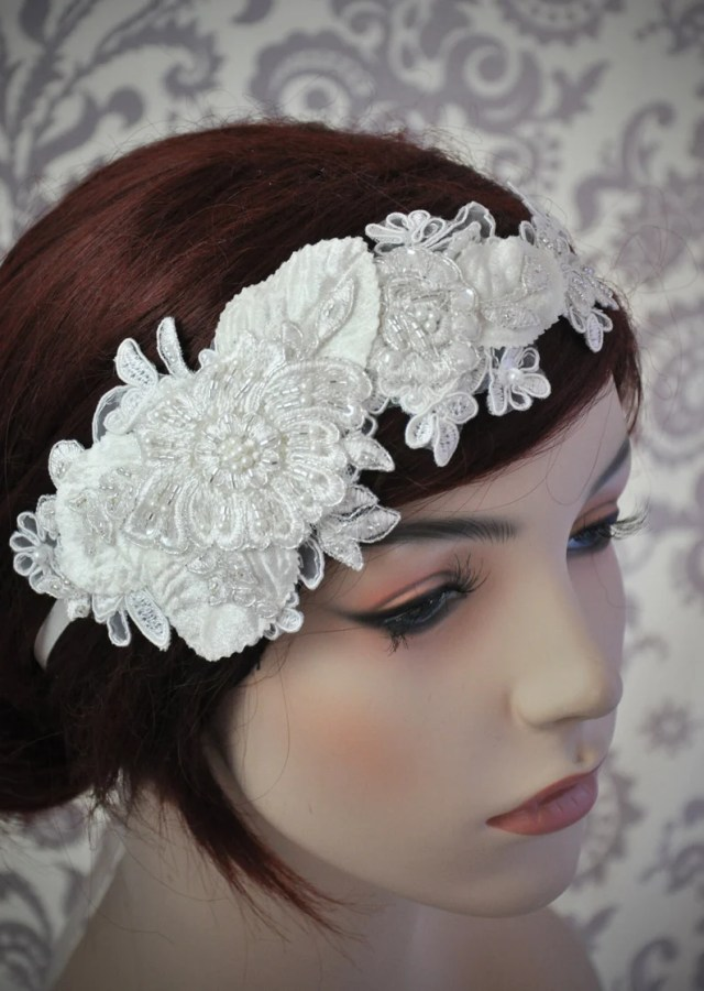 lace headpiece, bridal hair accessories, lace headband, bridal headband, beaded lace hair piece, white, ivory - 106hb