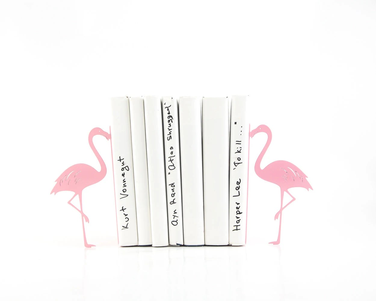 Metal Bookends Flamingos Book Holders Mod Decor