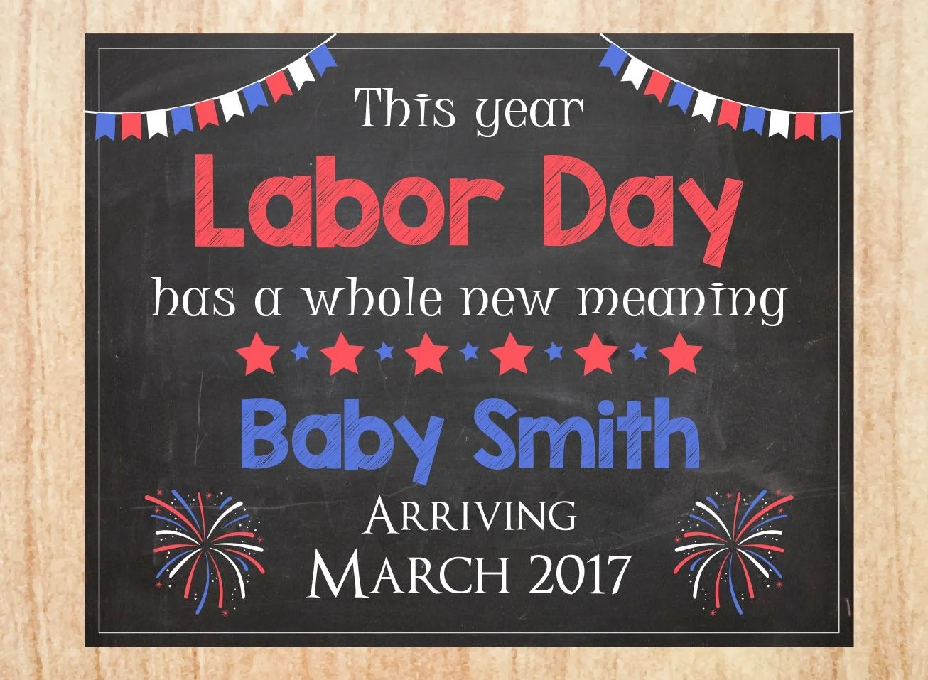 Labor Day Pregnancy Announcement Sign Printable New Baby