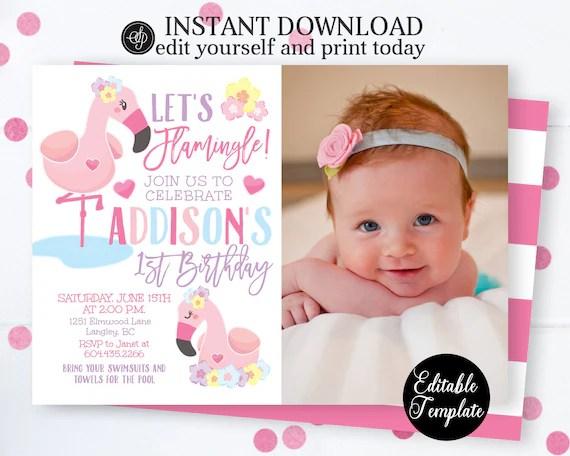 flamingo 1st birthday invitation editable let s flamingle tropical birthday invite flamingo invitation printable sp0048