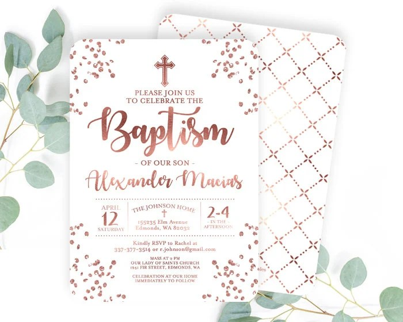 rose gold and white baptism invitation