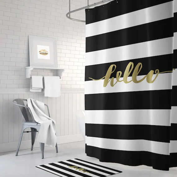 black and gold shower curtain striped shower curtain white shower curtain gold bathroom decor home decor gold long shower curtain