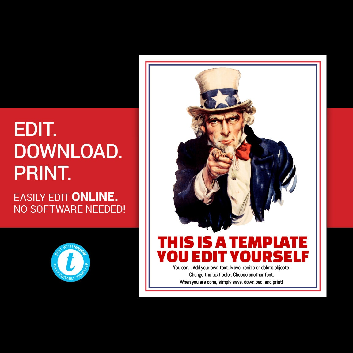 Editable Uncle Sam Poster Uncle Sam Flyer Uncle Sam I Want