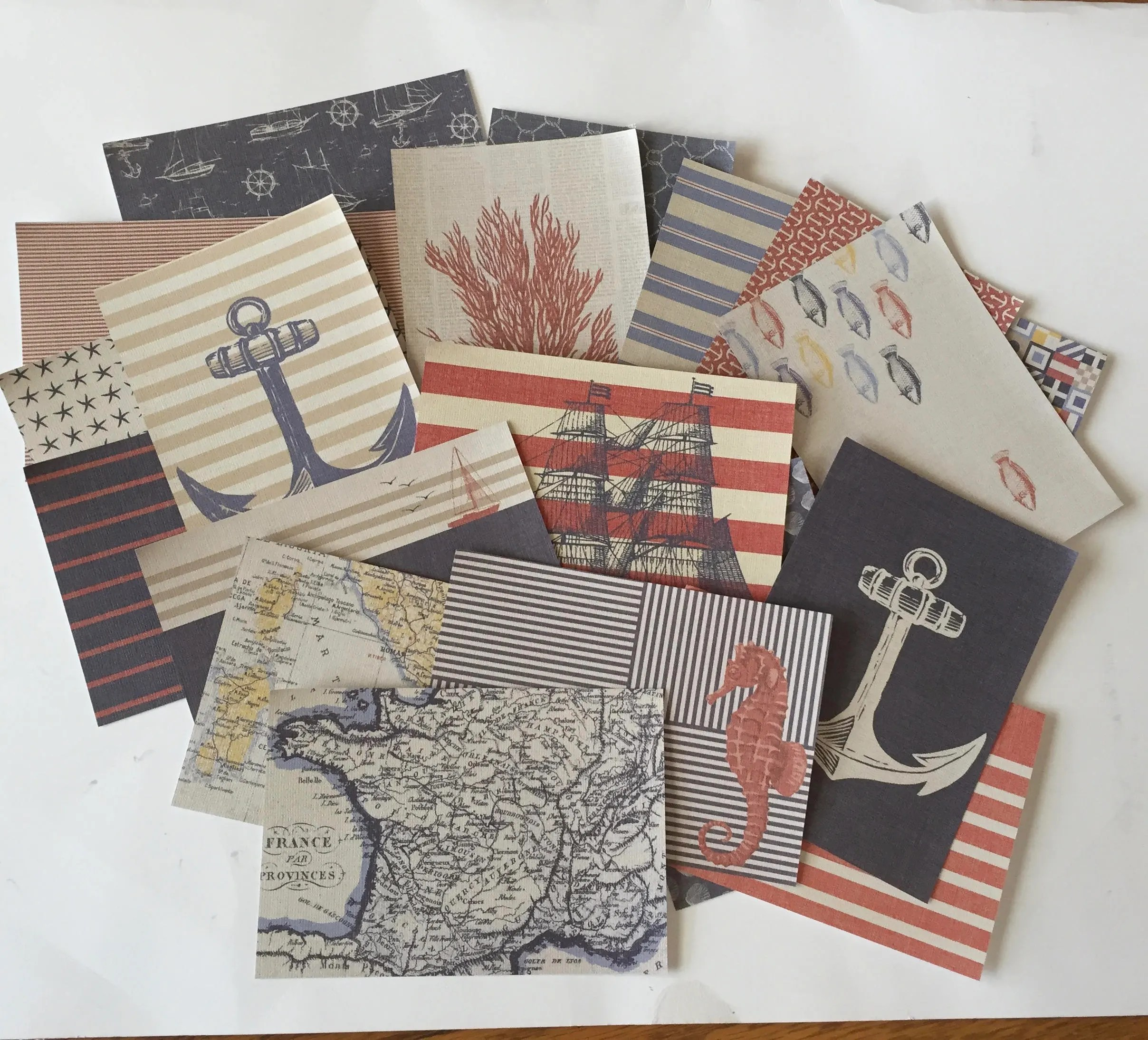Nautical Paper Sheets 4 5 X 6 5 Blue Red Cream