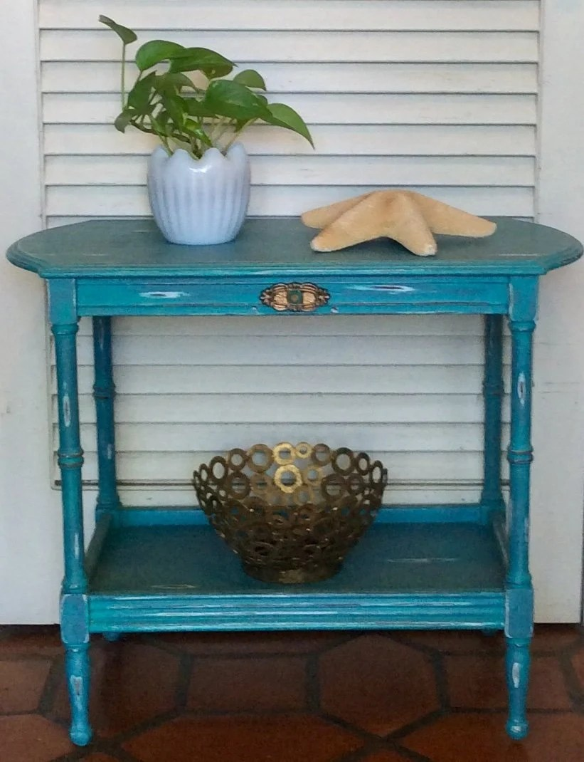 Vintage Blue Turquoise Side Table Nightstand 1940s