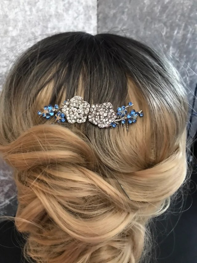 something blue crystal bridal hair comb, hair accessories ,something blue 1920s wedding headpiece