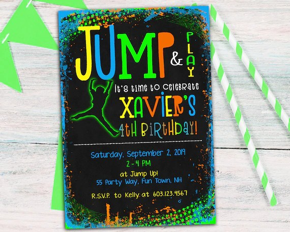 jump birthday party invitation for a