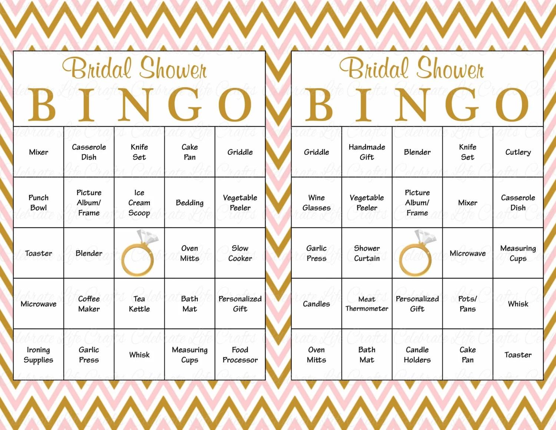 60 Bridal Bingo Cards Blank Amp 60 Prefilled Cards Printable