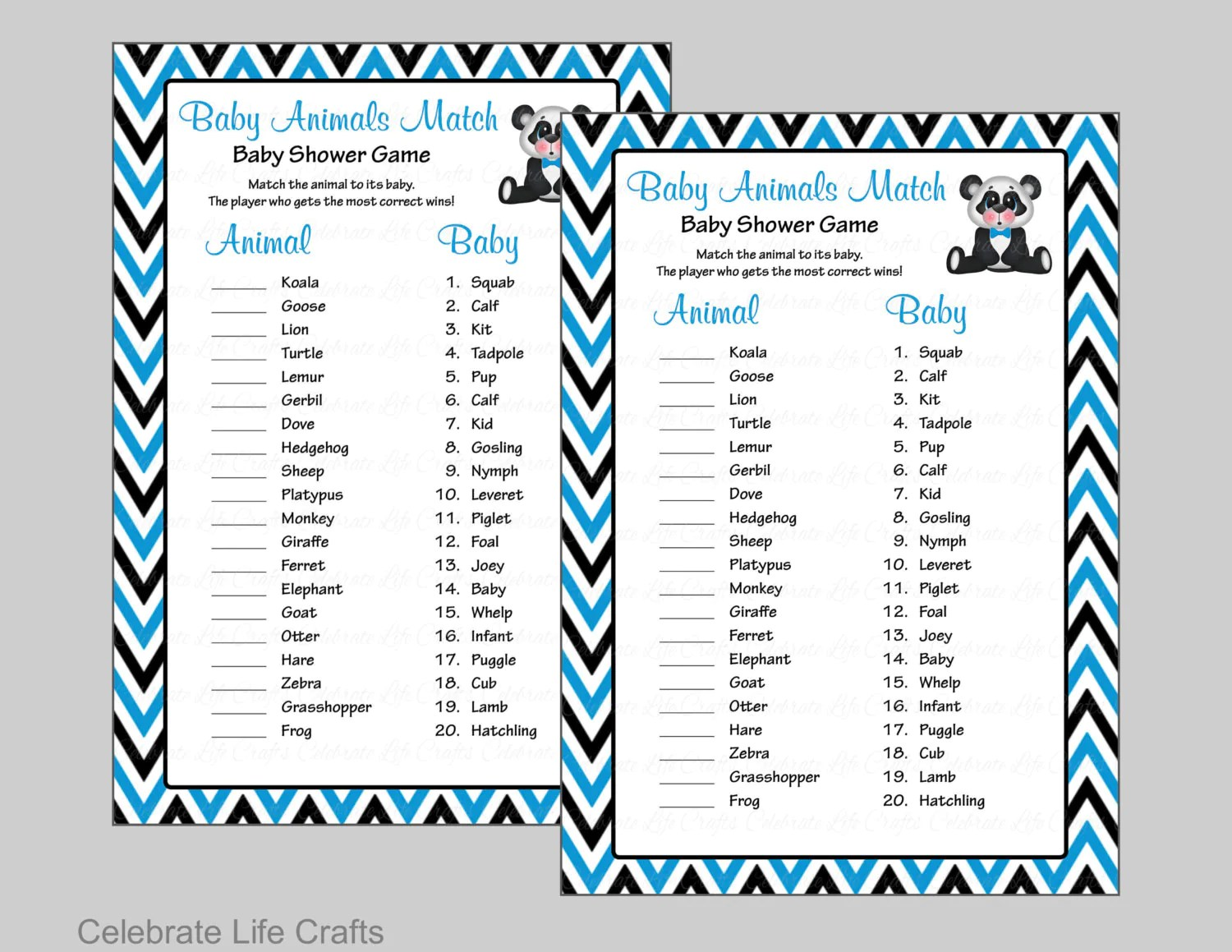 Baby Animals Match Game Printable Baby Shower Game Baby