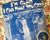 Vintage 1918 Sheet Music I'm Glad I Can Make You Cry 1910s World War WW I Patriotic Starmer Cover Art