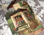 1920s Vintage Antique Postcard Country Cottage Chic Scene Trailing Flower Baskets in Window Seat Bench Hat Rooster Made in Germany